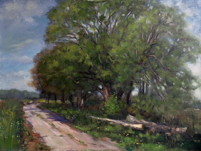"Terrebonne Landscape IV (2016, oil on canvas, 15x30"")"